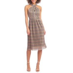 RACHEL Rachel Roy Chevron Lurex Halter Dress M